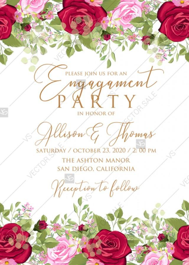 wedding photo - Engagement party wedding invitation set red pink rose greenery wreath card template PDF 5x7 in customize online