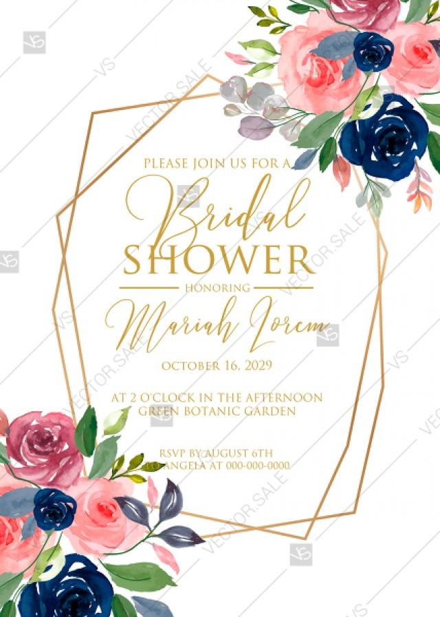 wedding photo - Bridal shower wedding invitation set watercolor navy blue rose marsala peony pink anemone greenery PDF 5x7 in invitation editor
