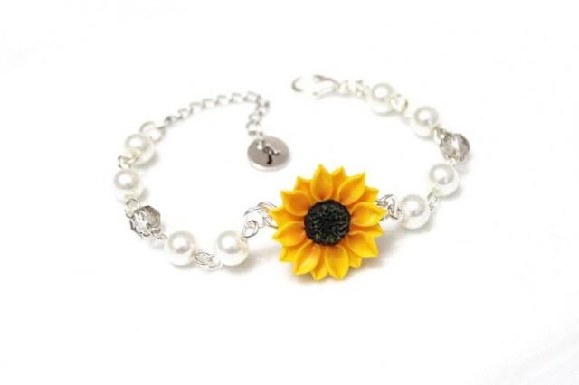 wedding photo - Sunflower Bracelet, Personalized Silver Disc, Sunflower and Pearls Bracelet, Couple's Initials, Monogram Charms, Mother Jewelry,Personalized