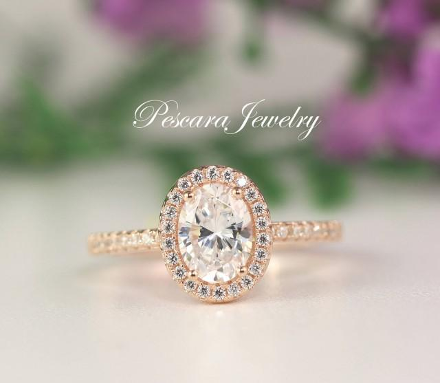 1 5 Carat Rose Gold Engagement Ring Oval Halo Ring Oval