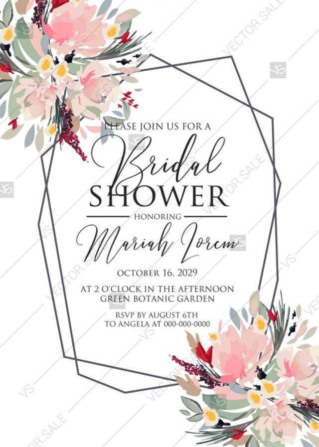 wedding photo - Watercolor wreath garden flower Baby Shower Invitation editable template card PDF 5x7 in invitation maker