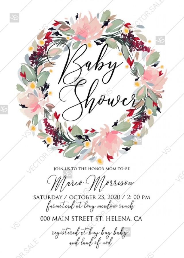 wedding photo - Watercolor wreath garden flower Baby Shower Invitation editable template card PDF 5x7 in