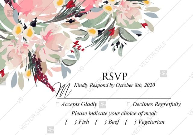 wedding photo - Watercolor wreath garden flower Baby Shower Invitation editable template card PDF 5x3.5 in personalized invitation