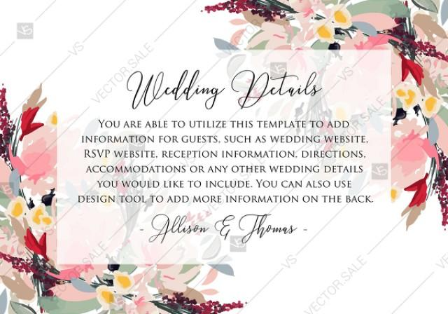 wedding photo - Watercolor wreath garden flower Baby Shower Invitation editable template card PDF 5x3.5 in online editor