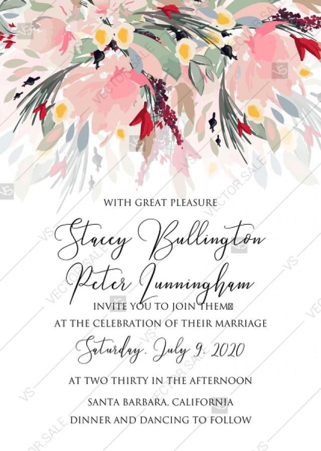 wedding photo - Watercolor wreath garden flower Baby Shower Invitation editable template card PDF 5x7 in online maker