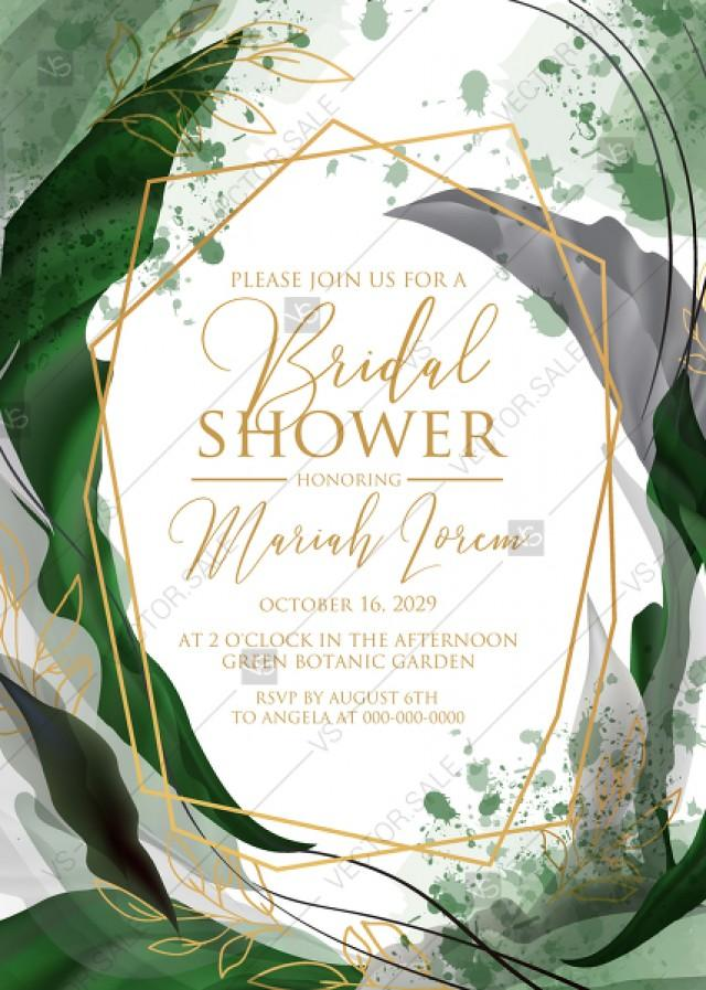 wedding photo - Bridal shower wedding invitation set watercolor splash greenery floral wreath, floral, herbs garland gold frame PDF 5x7 in