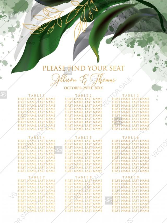 wedding photo - Seating chart wedding invitation set watercolor greenery floral wreath, herbs garland gold frame PDF 5x7 in edit online