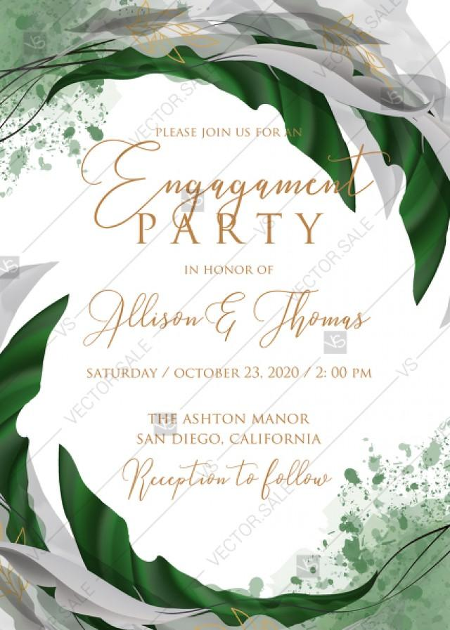 wedding photo - Engagement wedding invitation set watercolor splash greenery floral wreath, floral, herbs garland gold frame PDF 5x7 in maker