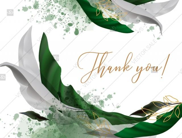 wedding photo - Thank you card wedding invitation set watercolor greenery floral wreath,herbs garland gold PDF 5.6x4.2 in customizable template