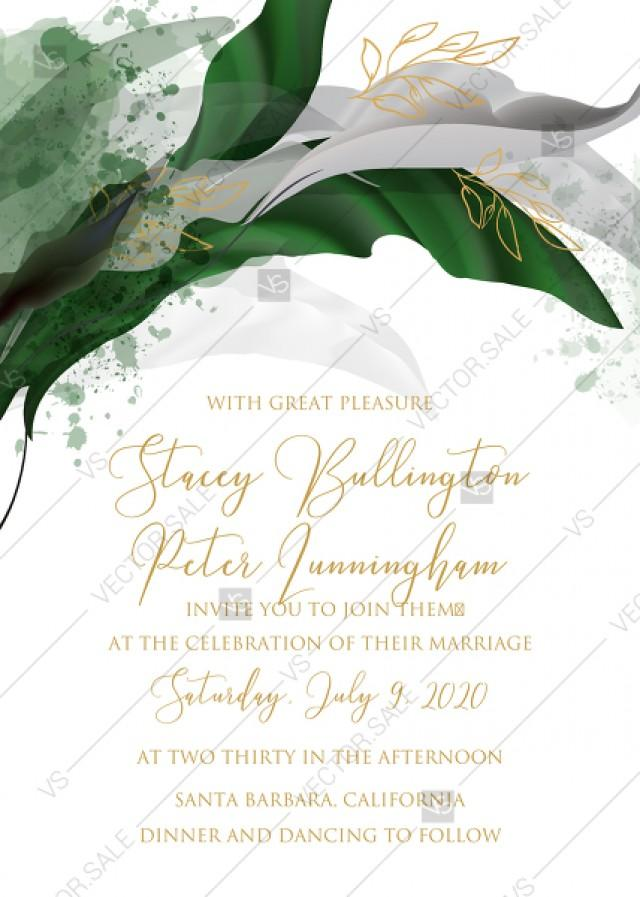 wedding photo - Wedding invitation set watercolor splash greenery floral wreath, floral, herbs garland gold frame PDF 5x7 in online maker