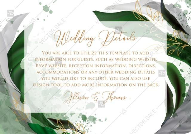 wedding photo - Wedding details card invitation set watercolor splash greenery floral wreath, herb garland gold frame PDF 5x3.5 in online editor