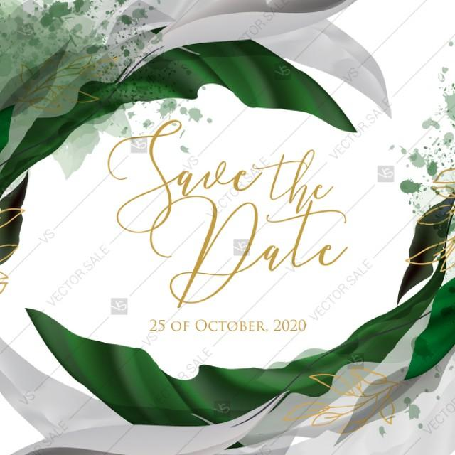 wedding photo - Save the date wedding invitation set watercolor splash greenery floral wreath, herbs garland gold frame PDF 5,25x5,25 in