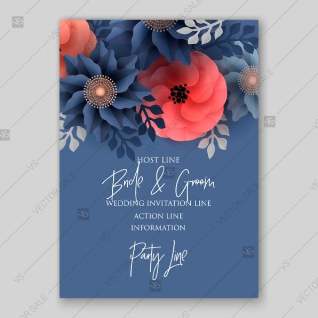 wedding photo - Big paper cut flower origami rose, anemone, peony 3d. Wedding invitation floral card vector template decoration bouquet