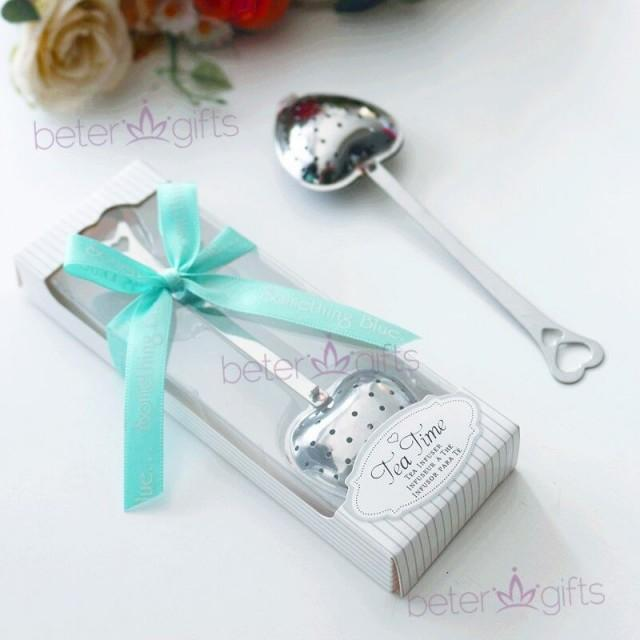 wedding photo - Beter Gifts®Tea Infuser Wedding Favor With Something Blue Ribbon #beterwedding