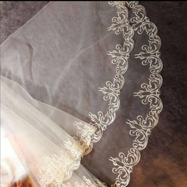 wedding photo - cathedral wedding Veil With flower ornamens lace veil, boho floral floor length lace veil,mantilla juliet veil,first communion white lace