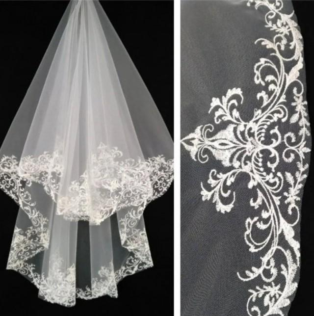 wedding photo - bridal veil ivory Lace veil boho Drop Vigne peigne mariage Wedding veil Ivory veils Cathedral ivory wedding veil Fingertip Length Tulle Veil