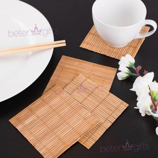 wedding photo - Beter Gifts®Natural Bamboo Eco-Friendly Coaster Favors (set of 4pcs)