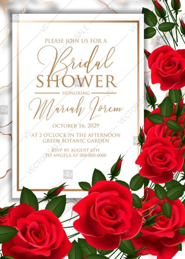 wedding photo - Bridal shower invitation Red rose wedding marble background card template PDF 5x7 in editor