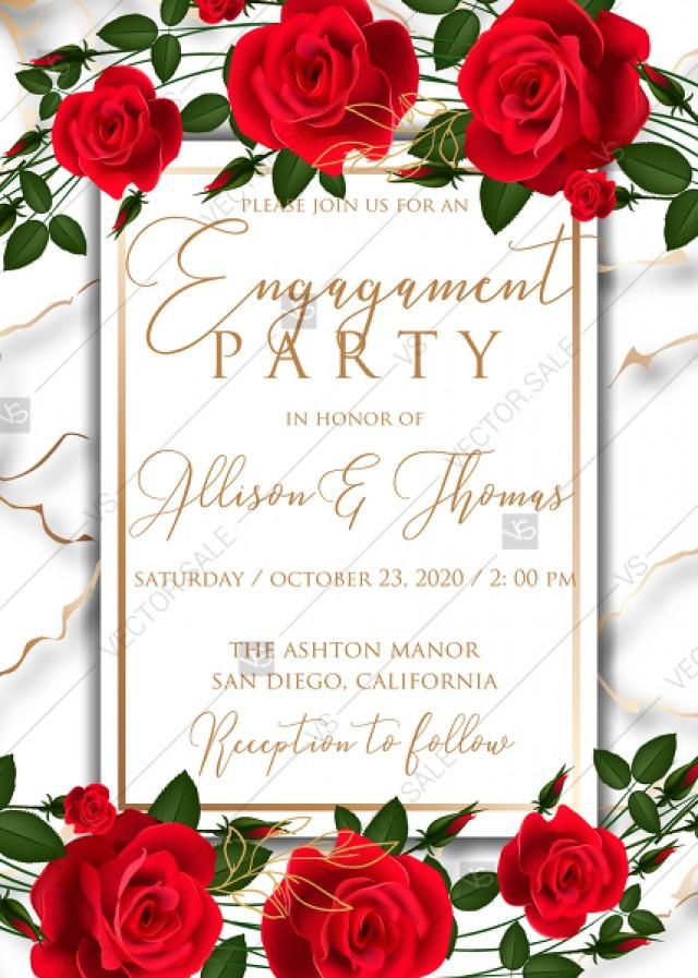 wedding photo - Engagement wedding invitation Red rose marble background card template PDF 5x7 in invitation maker