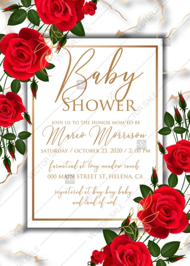 wedding photo - Baby shower wedding invitation Red rose marble background card template PDF 5x7 in PDF download