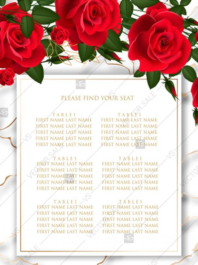 wedding photo - Seating chart wedding invitation Red rose marble background card template PDF 18x24 in PDF maker