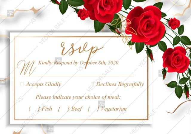 wedding photo - RSVP wedding invitation Red rose marble background card template PDF 5x3.5 in PDF editor