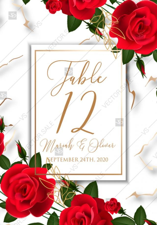 wedding photo - Table place card Wedding invitation Red rose marble background template PDF 3.5x5 in instant maker