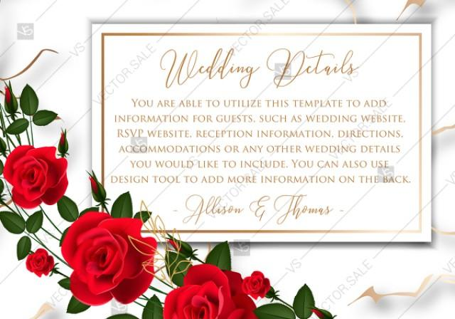 wedding photo - Wedding details card invitation Red rose marble background card template PDF 5x3.5 in wedding invitation maker