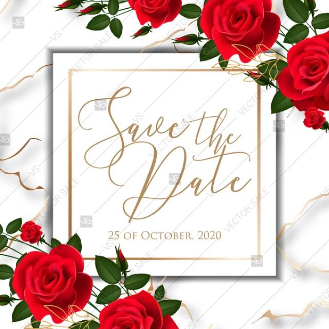 wedding photo - Save the date wedding invitation red rose marble background card template PDF 5.25x5.25 in online editor