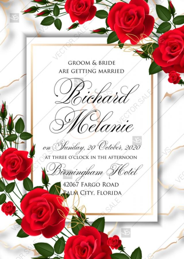 wedding photo - Wedding invitation Red rose marble background card template PDF 5x7 in online maker