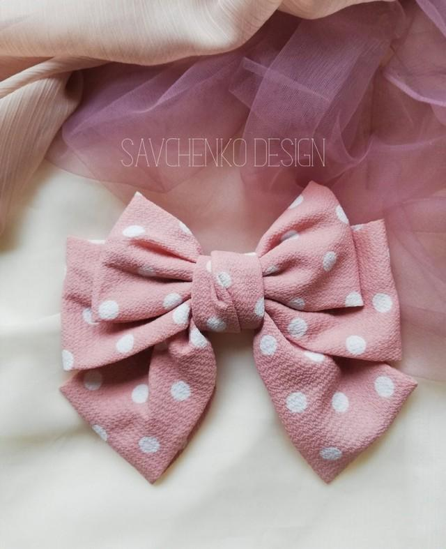 wedding photo - blush hair bow, french barrette, Polka Dot Barrette Oversize Style Hair Clips,Lolita Party, Hair Bow Rockabilly, pink and white hair bow