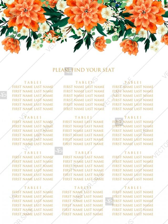 wedding photo - Seating chart wedding invitation peach peonies, sakura, blooming in Chinese style PDF 18x24 in instant maker