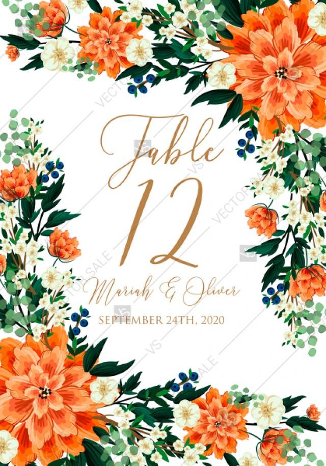 wedding photo - Place table card wedding invitation peach peonies, sakura, blooming in Chinese style PDF 3.5x5 in create online