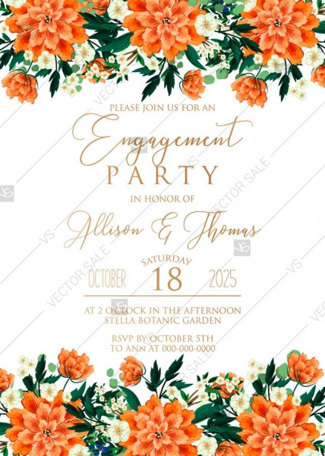 wedding photo - Engagement party wedding invitation peach peonies, sakura, blooming in Chinese style PDF 5x7 in online editor