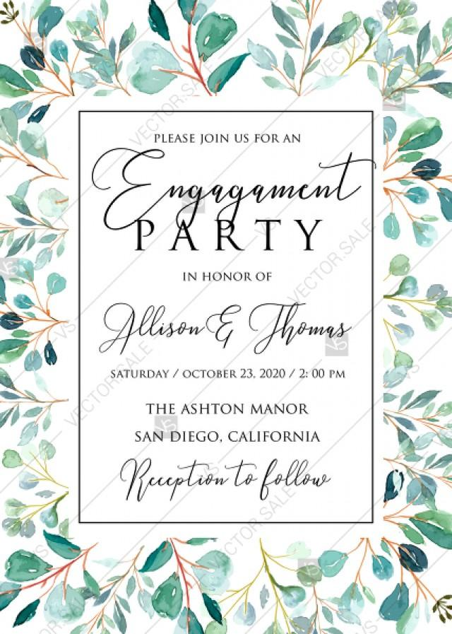 wedding photo - Engagement party Greenery wedding invitation set watercolor herbal background PDF 5x7 in customize online