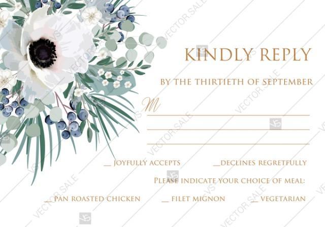 wedding photo - RSVP card invitation set white anemone menthol greenery berry PDF 5x3.5 in PDF editor
