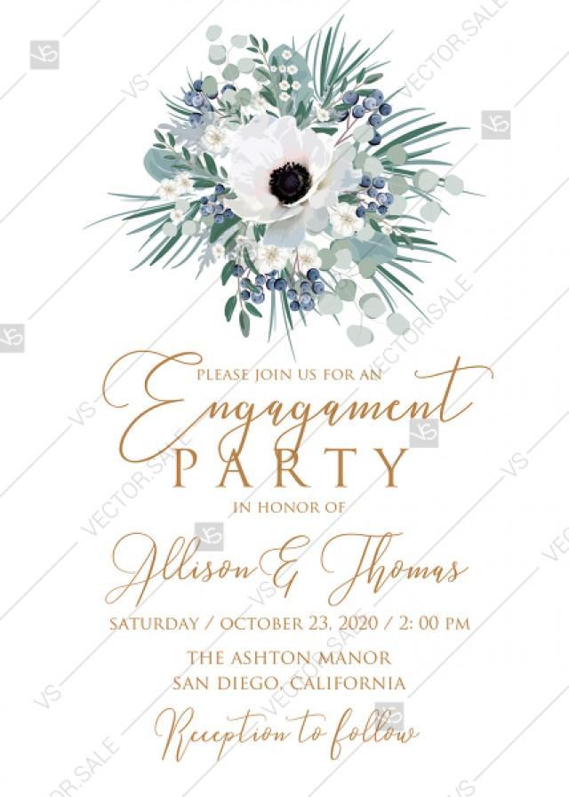 wedding photo - Engagement party wedding invitation set white anemone menthol greenery berry PDF 5x7 in instant maker