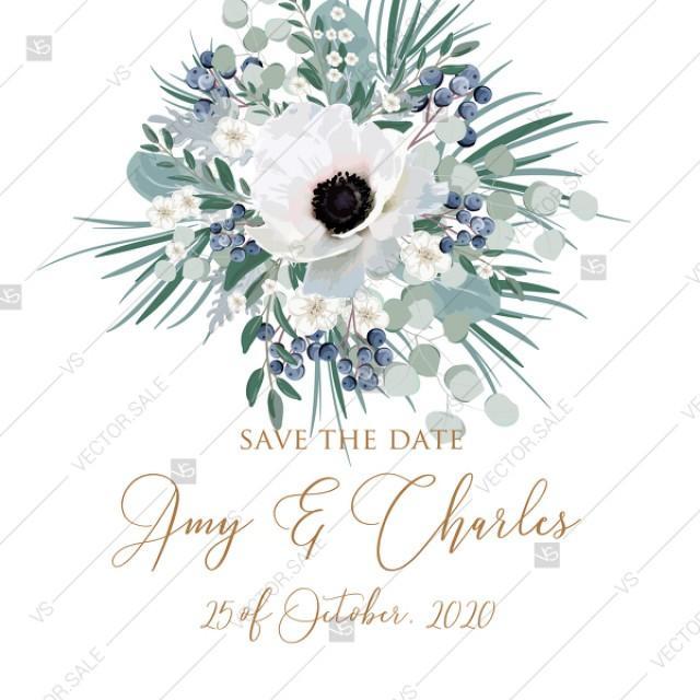 wedding photo - Save the date wedding invitation set white anemone menthol greenery berry PDF 5.25x5.25 in PDF template