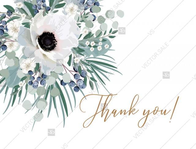 wedding photo - Thank you card wedding invitation set white anemone menthol greenery berry PDF 5.6x4.25 in invitation editor