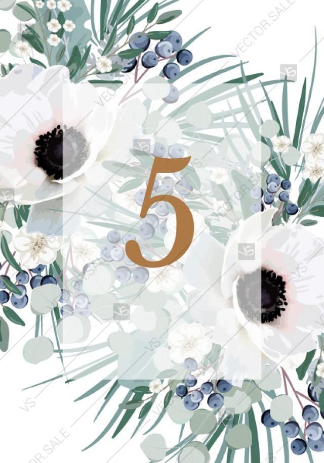 wedding photo - Table card wedding invitation set white anemone menthol greenery berry PDF 3.5x5 in invitation maker