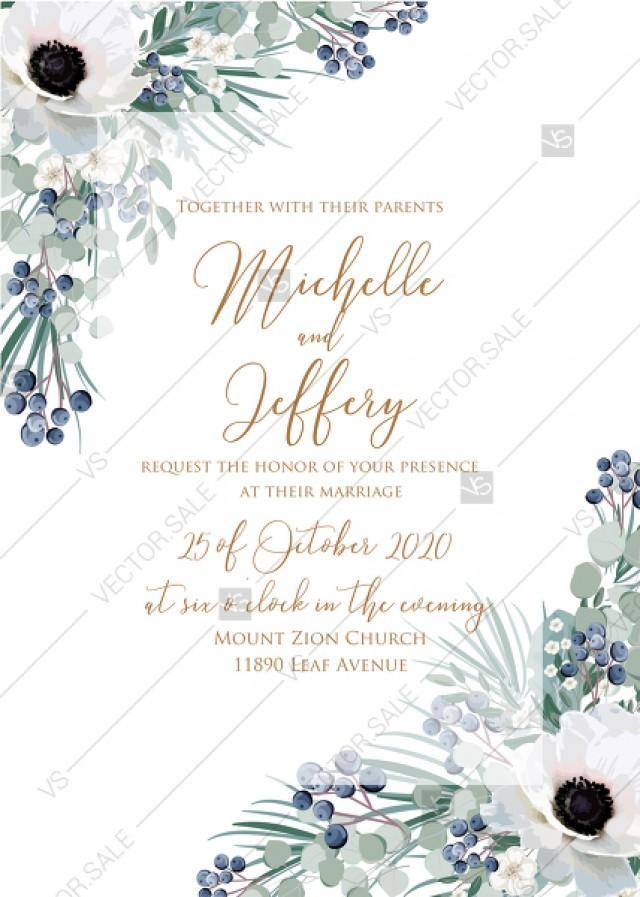 wedding photo - Wedding invitation set white anemone menthol greenery berry PDF 5x7 in personalized invitation