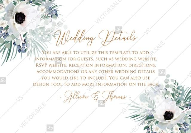 wedding photo - Wedding invitation set white anemone menthol greenery berry PDF 5x3.5 in customize online