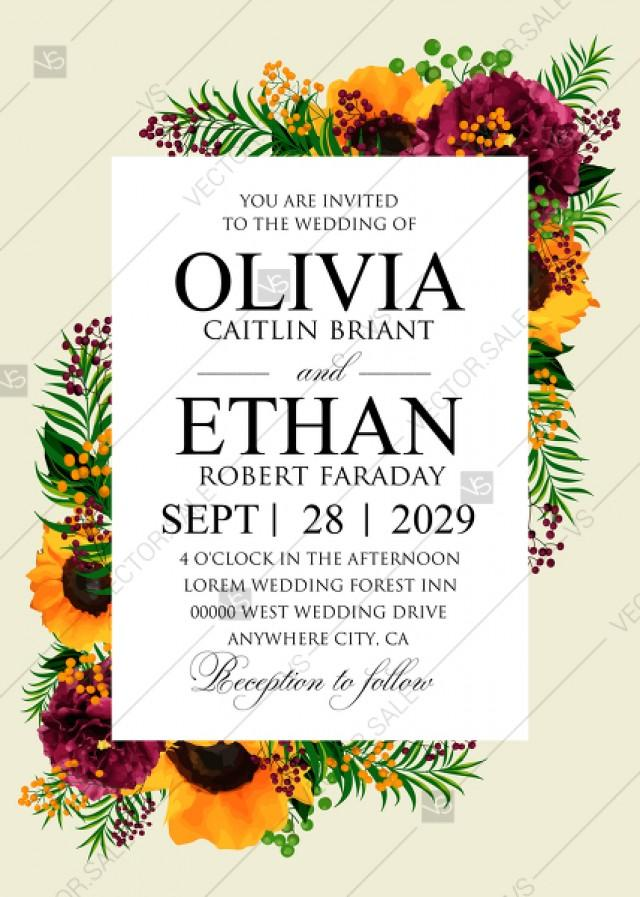 wedding photo - Sunflower peony marsala burgundy greenery hippophae wedding Invitation set PDF 5x7 in invitation maker