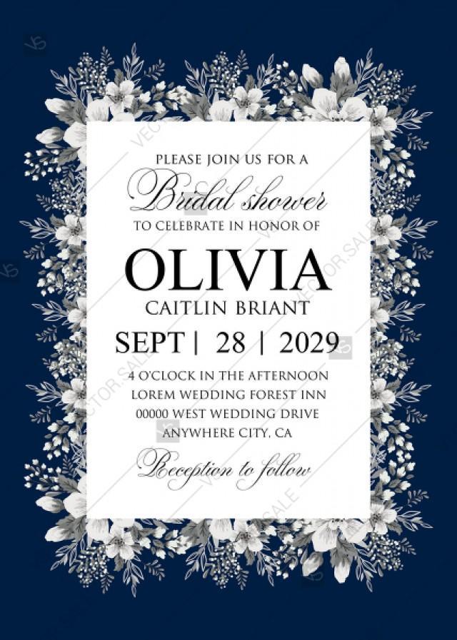 wedding photo - Bridal shower white anemone navy blue background wedding invitation set PDF 5x7 in invitation maker