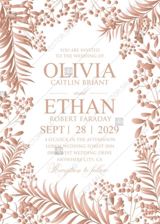 wedding photo - Gold Foil greenery wedding invitation set herbal design PDF 5x7 in invitation editor