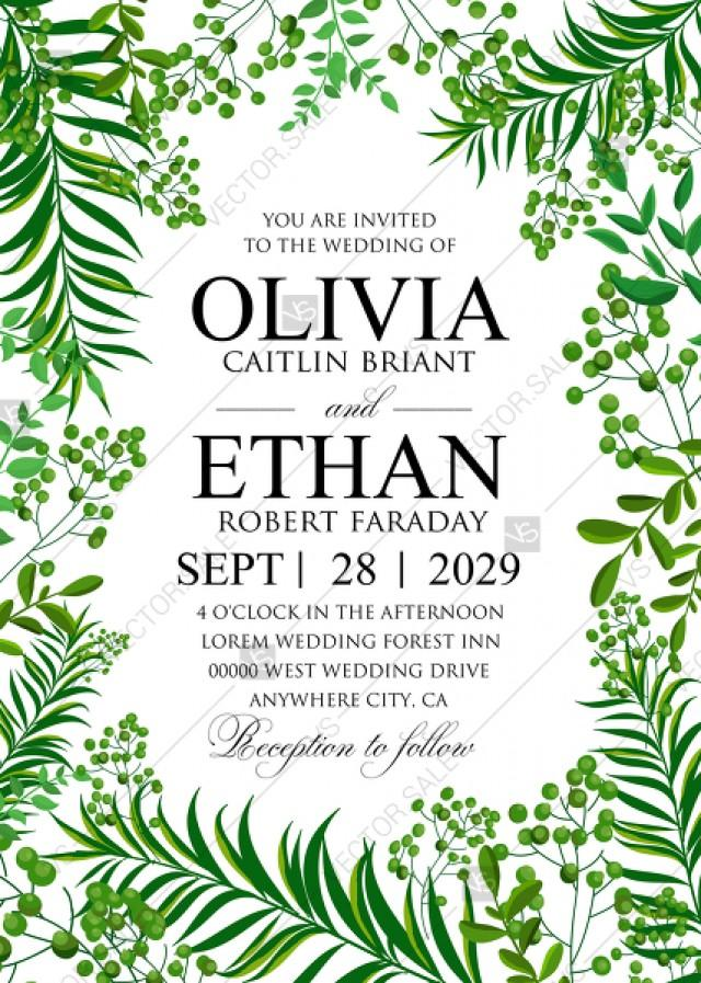 wedding photo - Greenery wedding invitation set watercolor herbal design PDF 5x7 in invitation editor