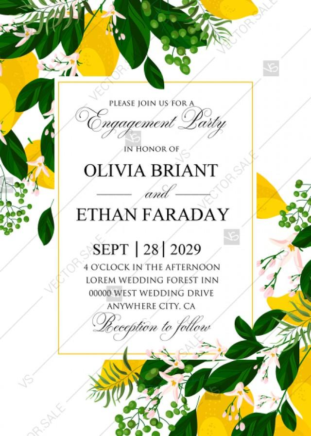 wedding photo - Lemon Engagement party Wedding Invitation suite template printable greenery PDF 5x7 in personalized invitation