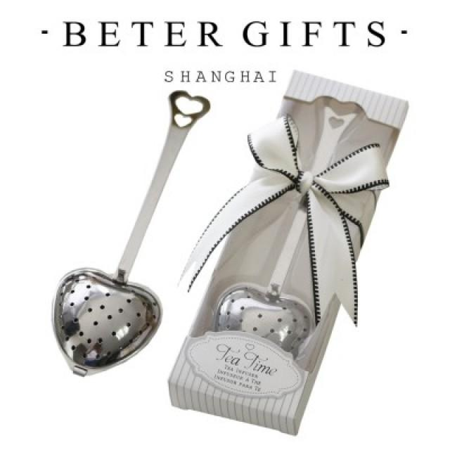 wedding photo - #beterwedding Door Gifts Green Tea Bridal Shower Heart Tea Infuser WJ035