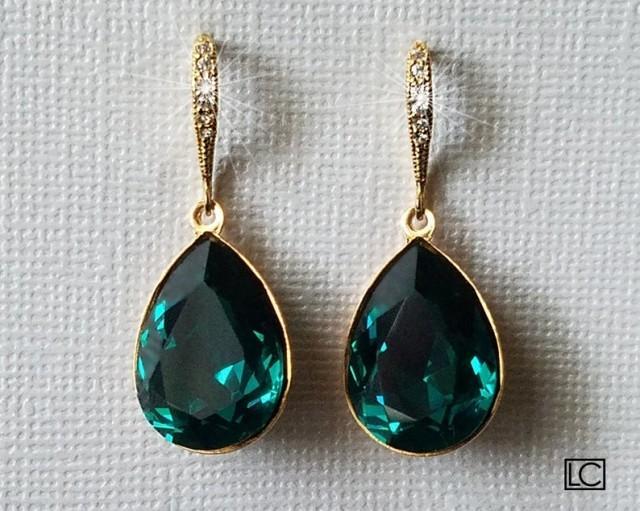 wedding photo - Emerald Gold Crystal Earrings, Swarovski Emerald Teardrop Earrings, Wedding Jewelry, Bridal Jewelry, Green Dangle Earrings Bridal Party Gift