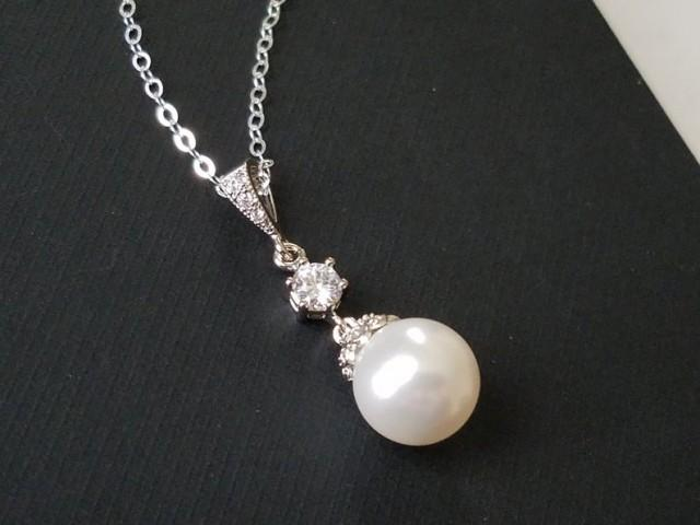 wedding photo - Pearl Bridal Necklace, White Pearl Drop Necklace, Swarovski 10mm Pearl Silver Necklace, Bridal Jewelry, Bridal Party Gift, Pearl Pendant